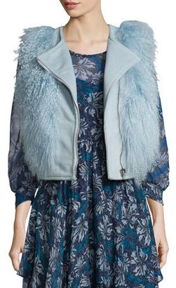 Rebecca Taylor Asymmetric-Zip Fur-Trim Vest, Icicle Blue $995 thestylecure.com