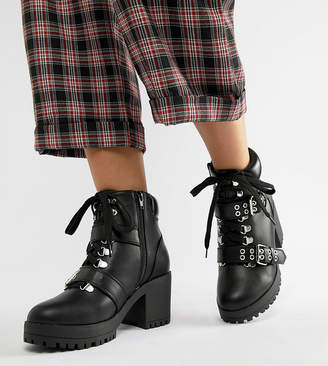 Truffle Collection Wide Fit Hiker Heeled Ankle Boots