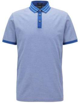 BOSS Hugo Micro-pattern polo shirt in mercerized cotton jacquard XXXL Open Blue