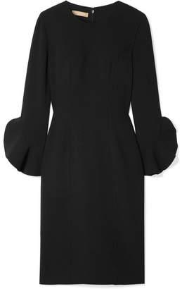 Michael Kors Ruffle-trimmed Wool-blend Crepe Dress - Black