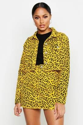 boohoo Leopard Denim Cropped Jacket