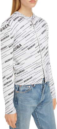 Balenciaga Jacquard Stripe Logo Cardigan