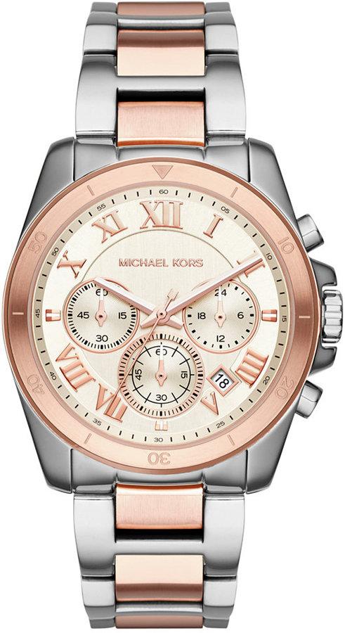 MICHAEL Michael KorsMichael Kors Women's Brecken Chronograph Two-Tone Stainless Steel Bracelet Watch 40mm MK6368