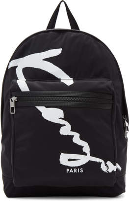 Kenzo Black Signature Logo Backpack