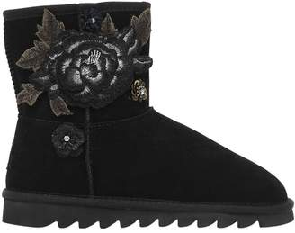Colors of California Suede Boots W/ Floral Embroidery
