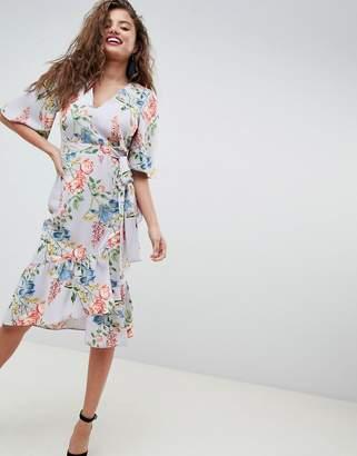 3a72755ad6f Asos Design floral print kimono sleeve wrap midi dress