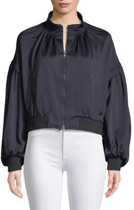 Tibi Zip-Front Pique Track Jacket