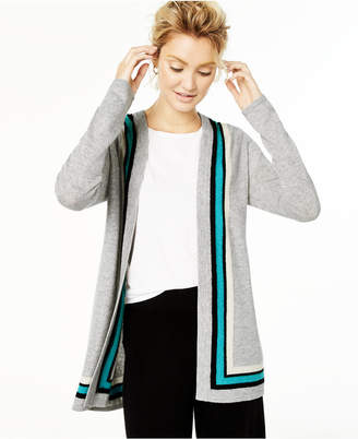 Charter Club Cashmere Border Duster Cardigan