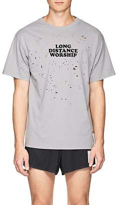 "Satisfy Men's ""Long Distance Worship"" Distressed Cotton T-Shirt - Gray"