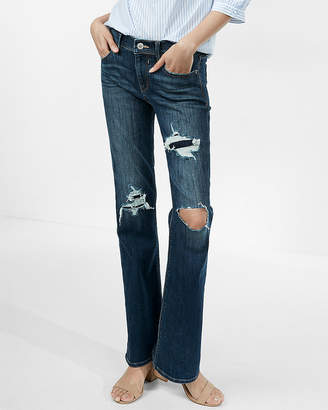 Express Mid Rise Bootcut Original Distressed Jeans