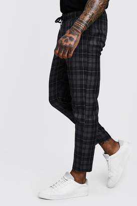 boohoo Dele Grey Check Woven Jogger With Elasticated Waist