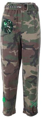Marc Jacobs Embellished Camouflage-print Cotton-twill Tapered Pants