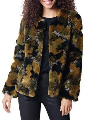 Fabulous Furs Camo Faux Fur Cocktail Coat