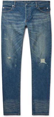 Balmain Slim-Fit Distressed Stretch-Denim Jeans - Mid denim