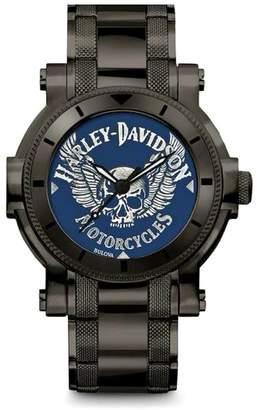 Harley-Davidson Men's Winged Skull Stainless Steel Watch, Gunmetal Finish 78A117