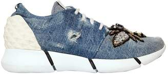 Elena Iachi 30mm Embroidered Denim Sneakers