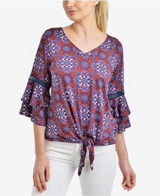 NY Collection Printed Tiered Bell-Sleeve Top