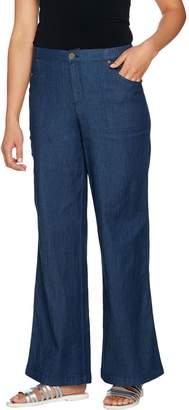 Denim & Co. Stretch Wide Leg Full Length Chambray Pants