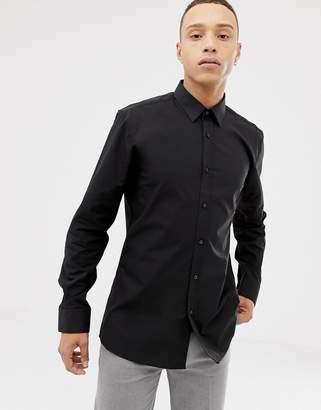 fa40ca5ce239 HUGO Elisha01 extra slim fit poplin shirt in black