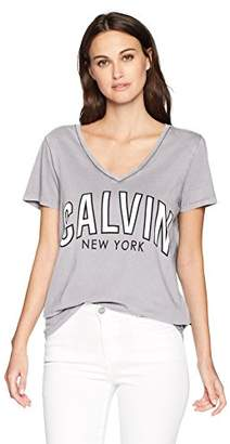 Calvin Klein Jeans Women's Short Sleeve T-Shirt Logo Flocked Design V-Neck