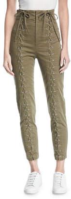 A.L.C. Kingsley High-Waist Lace-Up Skinny-Leg Pants
