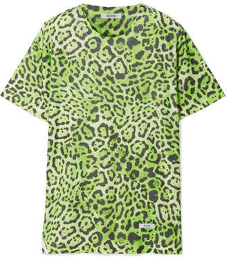 BLOUSE - Lovecat Leopard-print Jersey T-shirt - Lime green