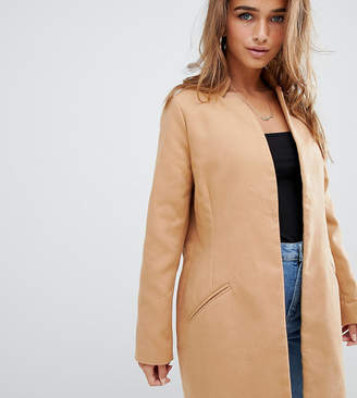 Missguided Petite tailored formal coat in camel