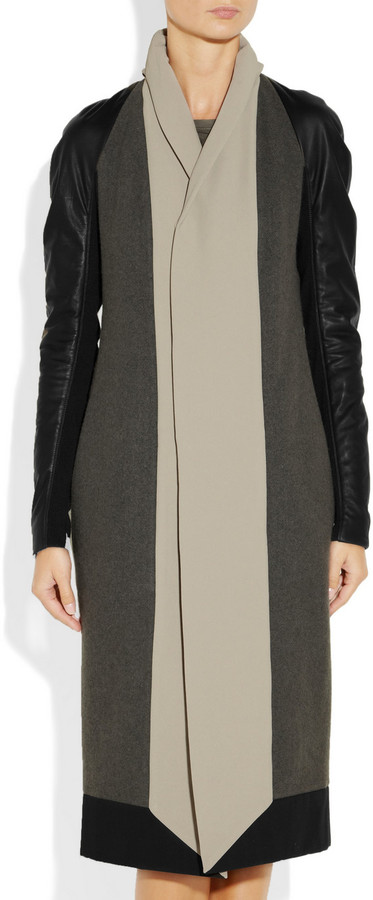 Rick Owens Leather and crepe-trimmed wool coat