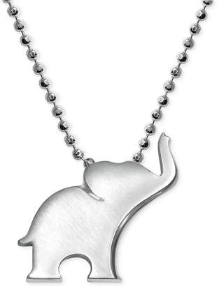 Alex Woo Little Luck by Elephant Pendant Necklace in Sterling Silver