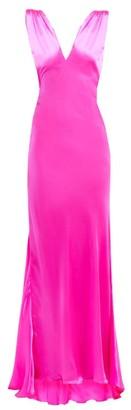 Maria Lucia Hohan Derya Fluted Hem Silk Satin Maxi Dress - Womens - Pink