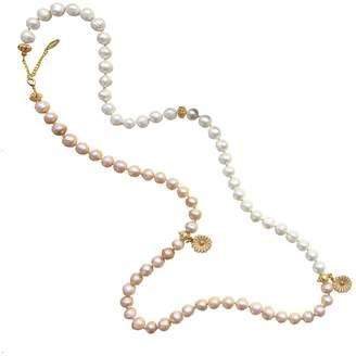 Farra - White & Orange Freshwater Pearls Multi-Way Necklace