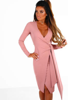 Pink Boutique Demand Attention Pink Wrap Front Long Sleeve Midi Dress