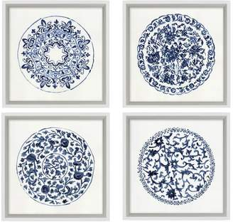 Pottery Barn Porcelain Blue Paper Prints, Set of 4