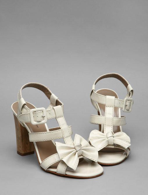 Nanette Lepore Bad Girl Bow Heel in Shiny Calf Off White