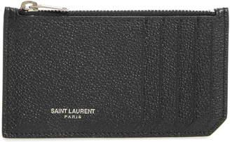 Saint Laurent Leather Zip Wallet