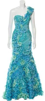 Mac Duggal One-Shoulder Floral Gown w/ Tags