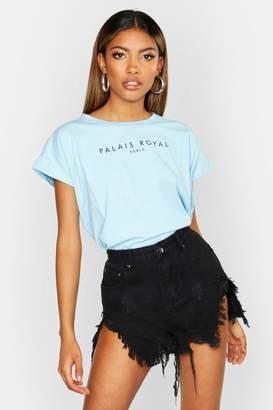 boohoo Cotton Cap Sleeve Slogan T-Shirt