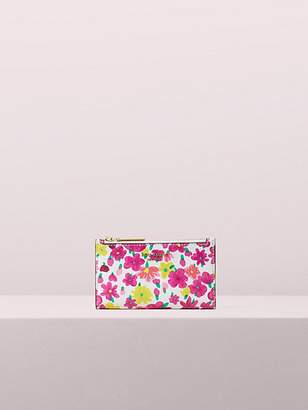 Kate Spade Sylvia Marker Floral Small Slim Bifold Wallet, Optic White