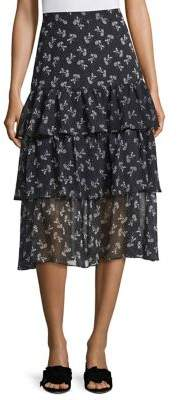 The Kooples Tiered Ruffle Floral Skirt