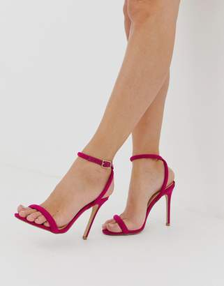 Lipsy barely there heeled sandal with cross back in fuschia
