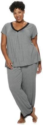 Croft & Barrow Plus Size Printed Lace-Trim Tee & Pants Pajama Set