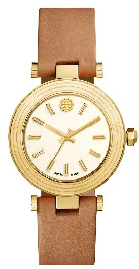 Tory Burch Women's Tory Burch Classic-T Leather Strap Watch, 36Mm