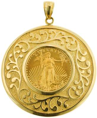 American Coin Treasures 14K/22K Gold Round Medallion Liberty Coin Pendant