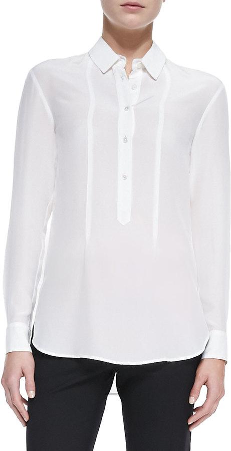 Jason Wu Silk Long-Sleeve Blouse, Ivory