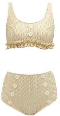 Lisa Marie Fernandez Colby High Rise Metallic Seersucker Bikini - Womens - Cream Multi