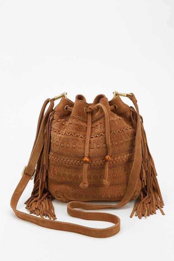 FRIDA Suede Fringe Bucket Bag