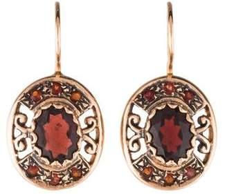 14K Garnet Drop Earrings