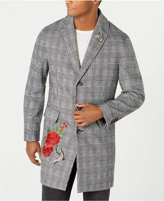 INC International Concepts I.n.c. Men Embellished Glen Plaid Topcoat, Created by Macy