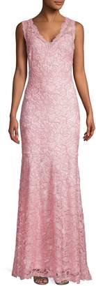 Tadashi Shoji Rose Lace V-Neck Gown