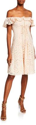 Astr Joyce Lace-Up Ruffle Cotton Crochet Dress